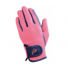 Hy5 Children's Every Day Two Tone Riding Gloves Navy/Raspberry