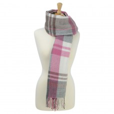 Hyfashion Supersoft Tartan Scarf - Berry, Grey & White