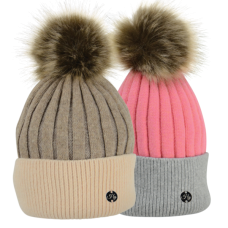 Hyfashion Luxury Bobble Hat - Coral & Charcoal