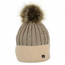 Hyfashion Luxury Bobble Hat - Toffee & Beige