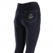 Legacy Ladies Jodhpurs - Contrast Stitch Navy with Lime Green