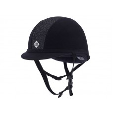 Charles Owen Yr8 Black with Black Sparkle Hat - Available in standard & round fit)
